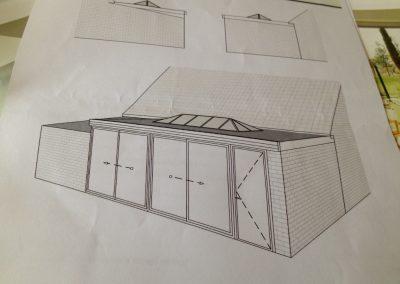 Plan de projet d'une verrière sur extension
